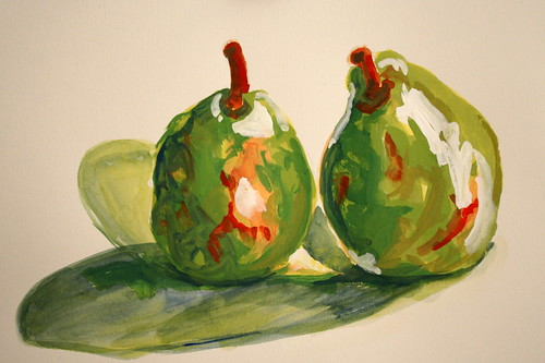 Kissing Pears in Gouache