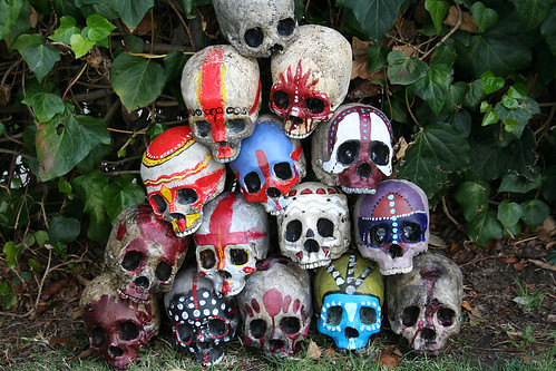 Pile of Skulls with Warpaint Urethane 2 part foam skulls painted by me