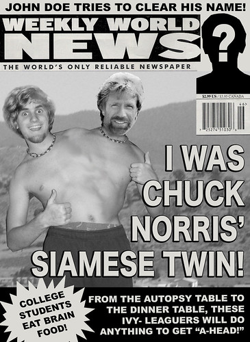 I Was Chuck Norris' Siamese Twin Weekly World News Cover
