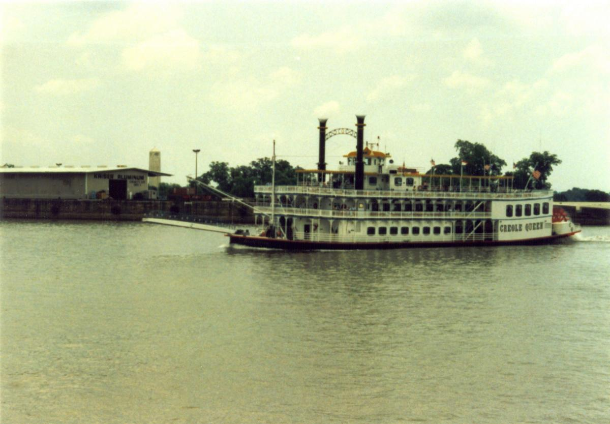 Creole Queen, another riverboat on the Mississippi River, New Orleans, 1988