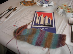 A sock in a dining car