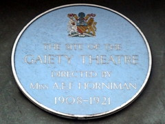 Photo of Annie Horniman and Gaiety Theatre, Manchester blue plaque