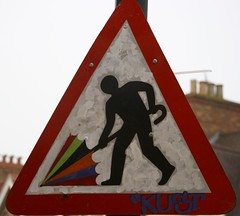 Brolly man (ludwig van standard lamp) Tags: sign umbrella funny roadworks creativecommons roadsign subvert