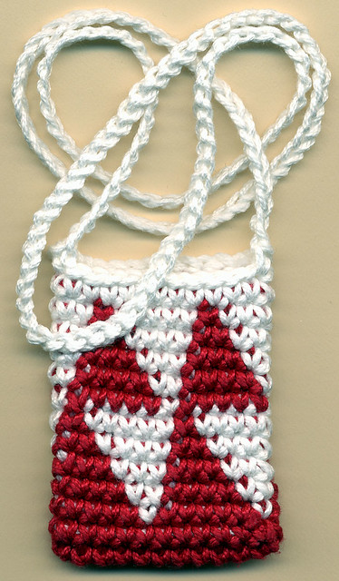 Carol Ventura's Tapestry Crochet Necklace Pouch / Amulet Bag