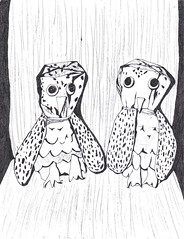 paperbag owls (Candybar Apocalypse II) Tags: sketch funny crafts freaky freak owl owls paperbag cheezy owldrawing