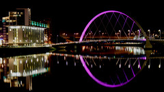 Clyde Arc By Night (Graeme Bird) Tags: bridge black reflection water colors night canon reflections river lights scotland clyde colours purple glasgow bridges thisisnow clydearc