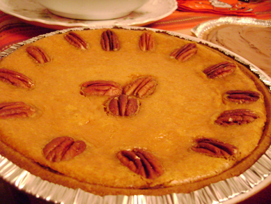 pumpkin pie with almonds