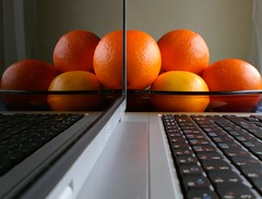 Laptop without energy (horstgeorg) Tags: orange art colors reflections computer keyboard laptop oranges christmaspresent superhearts excellentphotographerawards photofaceoffwinner