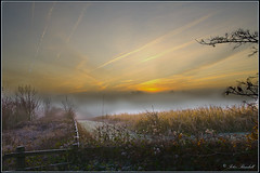 Queendown Misty Sun Rise (lightpainter_album) Tags: uk mist field sunrise fence kent corn contrails trails vapour sunrise misty