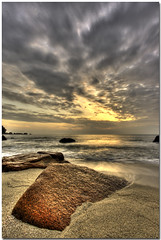 Sunrise at TC (Chee Seong) Tags: christmas morning beach rock clouds sunrise canon sand bravo wave tc 1022mm hdr kuantan pahang themoulinrouge supershot 400d platinumphoto superbmasterpiece diamondclassphotographer theperfectphotographer