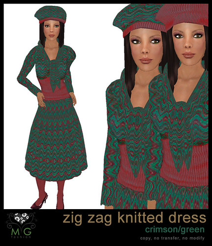 [MG fashion] Zig zag knitted dress (crimson/green)