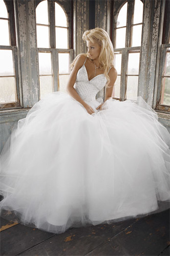 V neck tulle wedding dress_311