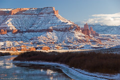 Fisher Towers (Marc Shandro) Tags: winter snow ice river landscape utah desert coloradoriver fishertowers coloradoplateau