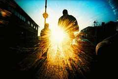 London bound (slimmer_jimmer) Tags: simon xpro crossprocessed berkhamsted lensflare jonny 2008 kodakelitechrome100 vivitarultrawideslim berkhamstedhighstreet