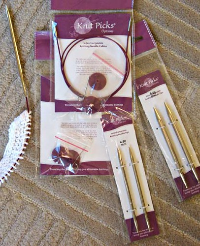 knitpicks options interchangeable circular needles, nickel plated, knitting needles