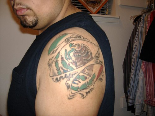 Mexican Flag Tattoo with torn skin effect; ← Oldest photo