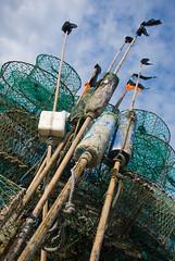 Casiers et Fanions (Yann Le Biannic) Tags: port harbor harbour flag lobster normandie normandy trap seaport casier fanion