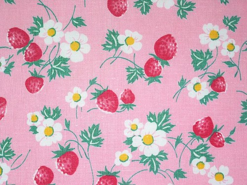 Vintage 1940's Strawberry Blossom Fabric