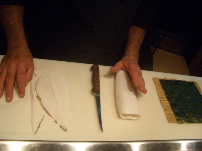 Slicing off squid wings