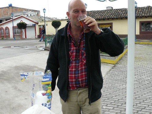 Steve enjoys Juan's aloe vera drink