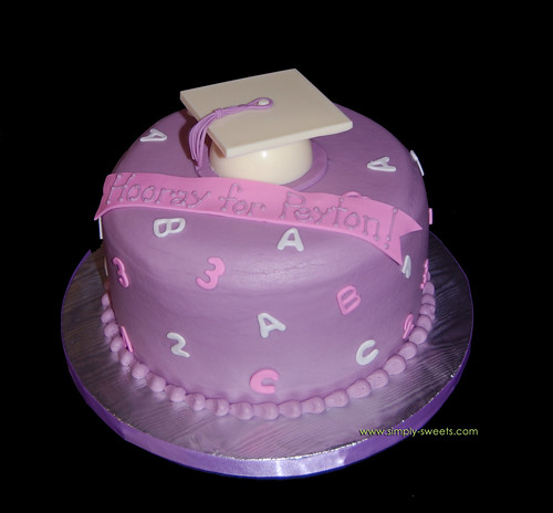 purple preschool graduation cake