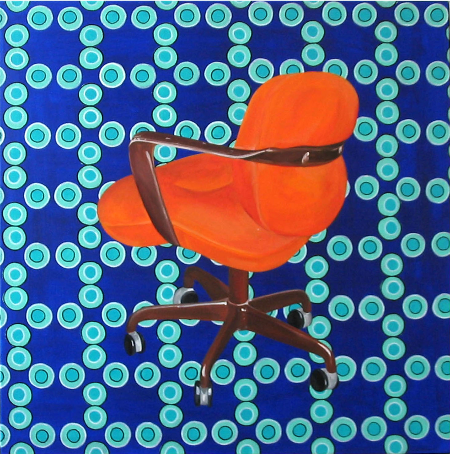 Orange on Blue, Acrylic on Canvas, 76cm x 76cm by Robin Clare