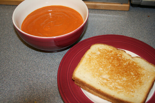 Cream of Tomato Soup and grilled cheese