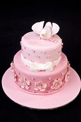 Ava's Christening Cake (Sweet Tiers) Tags: pink flowers bird painting handmade chocolate bow christening 2tiers