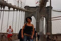 Renata on The Brooklyn Bridge (BishRocks) Tags: new york nyc trip travel bridge usa newyork yellow brooklyn america square nikon cab united timessquare times states renata crowds crowded d80 nikond80