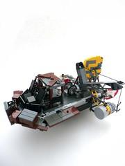 Lancha a remolque del espacio. (Lego Junkie.) Tags: cowboys lego space contest rusty network hulk barge pilot galactic handling ghl cowby