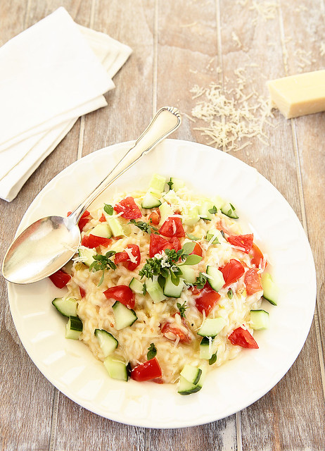 cucumber and cherry tomato risotto
