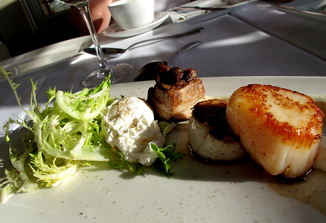 Seared Scallops, pork belly, endive and poached egg at Top of the Market