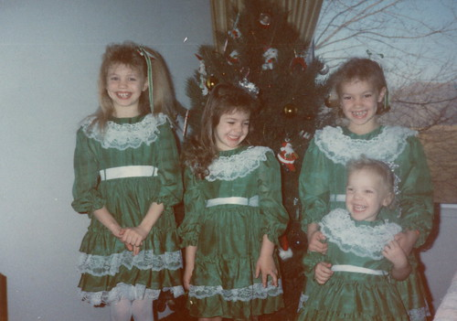 Matching Green Dresses for Christmas