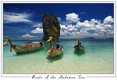 Boats of the Andaman Sea (orvaratli) Tags: ocean sea clouds landscape thailand boats island iceland south soe longtail krabi andamansea icelandic fl