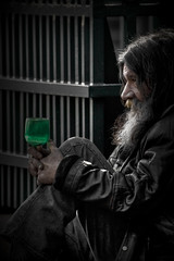 Life is a half empty glass... (* Ahmad Kavousian *) Tags: man homeless explore sidewalk ahmad panhandler 2b greenglass downtownagain supershot explored kavousian ahmadkavousian lightlightlight explore100 justforgreenofit platinumportrait beeninexplorepage beeninflickrexplorepage