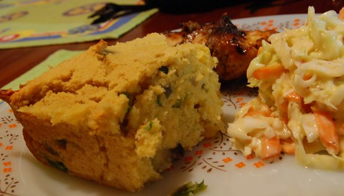 Cornbread, Coleslaw and oven baked BBQ Chicken