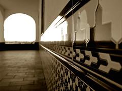 arabesque (guadags) Tags: españa ceramica wall sepia pared spain olympus bn friso badajoz arabe campo vanishing cortijo baldosas extremadura e500 profundidad mywinners