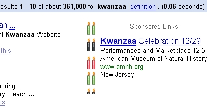 Google Adwords Kwanzaa Theme