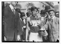 Lewis Tewanima  (LOC) (The Library of Congress) Tags: portrait bw usa news cup america vintage silver track native indian 10k trophy libraryofcongress athletes 1910s sporting runner gentleman hopi trackandfield olympian 375 medalist freeuse xmlns:dc=httppurlorgdcelements1