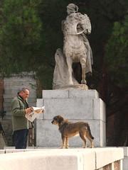 Madrileno and Perro in the Gardens of Palacio Real, Madrid