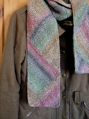 Multidirectional diagonal scarf close-up