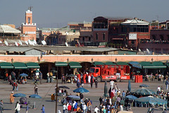 Jama'a el Fnaa-Marrakech (Liv ) Tags: africa street travel blue light sunset red 2 people 3 man sahara colors tag3 night square photography 1 photo women flickr tag2 colours photographer tag1 shot market minaret tag muslim ivan hijab rosa el mosque unesco morocco 09 maroc marocco marrakech souk medina afrika 2008 marruecos rosso colori ghetto viaggio occidentale souq 08 koutoubia afrique fna lazzari mosquita jemaa marocchino djemaa laiv  nikond80 laivphoto 130108 marrki 313807n80001w316352788000278coordinate313807n80001w316352788000278