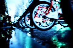 ramblas bicycles (dreifachzucker) Tags: barcelona film analog lomo lca xpro crossprocessed spain bcn lomolca slidefilm espana analogue 2008 agfactprecisa100 february2008 february3rdtil6th2008