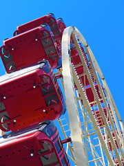 Reinventing the Ferris Wheel (Erik K Veland) Tags: carnival blue red sky wheel festival fun sydney australia fair nsw newsouthwales ferriswheel plugin funfair royaleastershow viveza aperture2
