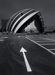 The Way to Armadillo (Glenn D Reay) Tags: glasgow scotland thearmadillo clydeauditorium monochrome architecture modern arrow carpark olympus xz10 compactcamera glennreay