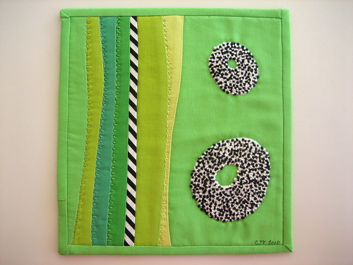 "Mini Art Quilt #2 or ""Knots on Green"""