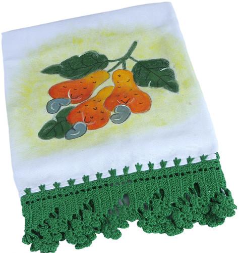 Pano de Prato Cajuzinho Pintado a Mão com barra de Crochê by PARANOARTE