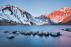 Wind Blown, Convict Lake (Jared Ropelato) Tags: california longexposure trip travel light wild sky lake tree nature ecology canon landscape lights spring rocks outdoor earth tripod scenic illumination visit scene hike adventure boulders filter april environment wilderness sierras monolake convict eco rugged illuminate manfrotto lansdscape enviro giotto easternsierras convictlake cablerelease 2011 1635mm waterrocks singhray 5dmkii jaredropelato ropelatophotography