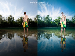 before and after (STEFFEN EGLY) Tags: blue summer sky lake green water clouds swim canon germany mirror shorts fesh 500d weisweil stobe strobist nikonsb24 swimlake 430exii 1585mm
