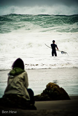 Nervously She Waits (benhew) Tags: storm beach weather surfer sigma surfing f56 spectator gx10 400mm